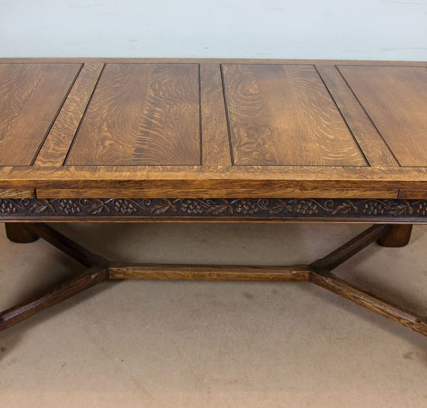Antique Large Oak Draw Leaf Farmhouse Dining Table