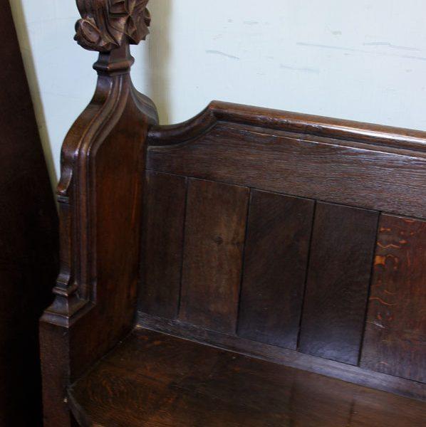 Antique Carved Oak Settle Pew,