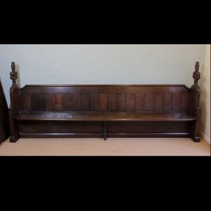 Antique Carved Oak Settle Pew,