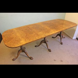 Antique Burr Walnut Pedestal Dining Table,