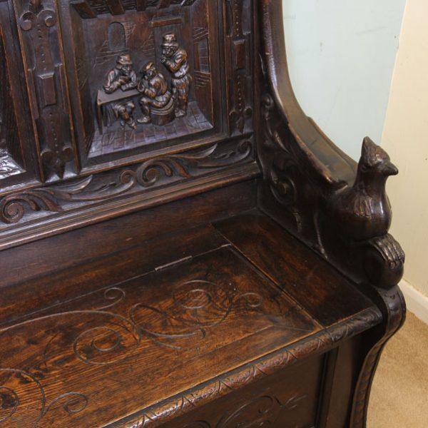 Antique Victorian Oak Box Settle, Monks Bench, Hall Seat