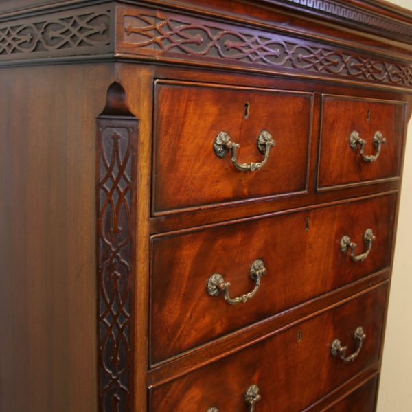 Antique Mahogany Chippendale Style Chest on Chest, Tallboy