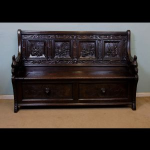 Antique Victorian Oak Box Settle, Monks Bench, Hall Seat