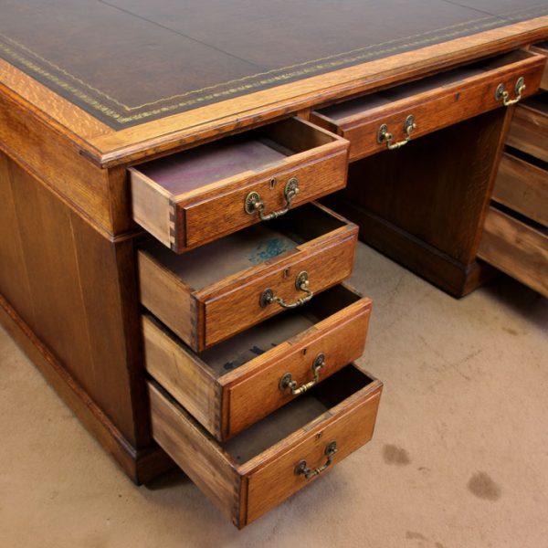 Antique Oak Partners Desk