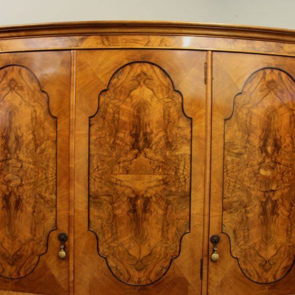 Antique Burr Walnut Triple Wardrobe