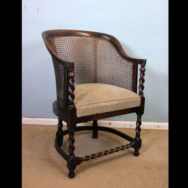 Antique Bergere Oak Desk Chair